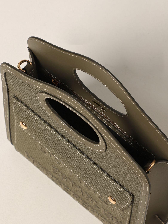 Borsa a mano Burberry: Borsa Pocket Burberry in tela e pelle verde 5