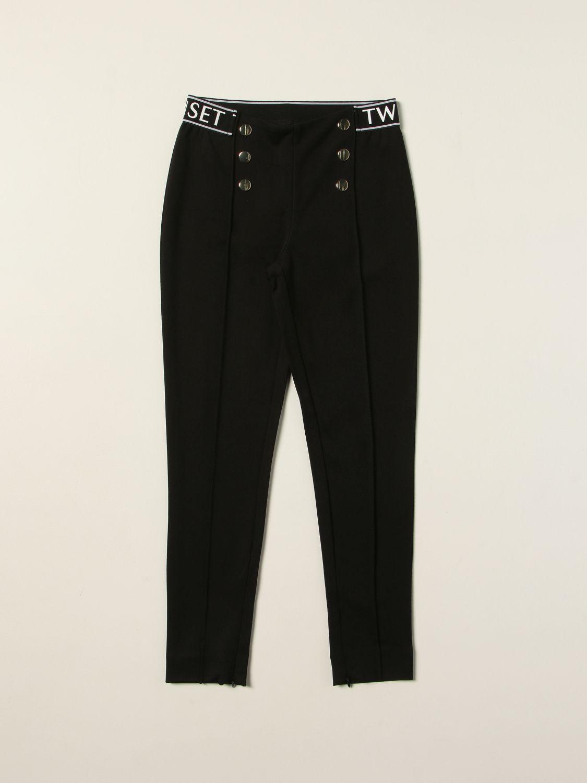 Pantalone Twin Set: Leggings Twin-set con fascia elasticizzata logata nero 1