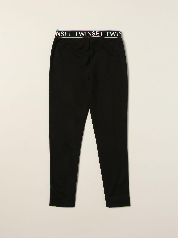 Pantalone Twin Set: Leggings Twin-set con fascia elasticizzata logata nero 2