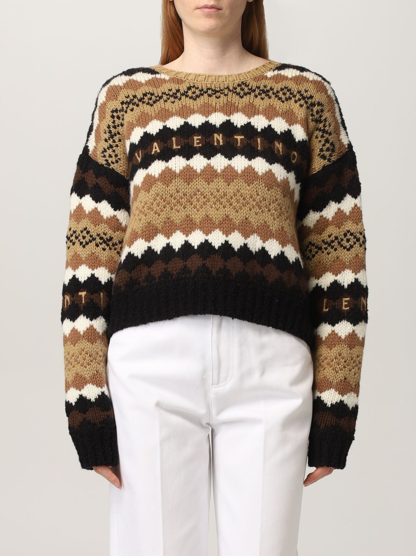 Maglia Valentino: Maglia Valentino in lana con logo ricamato crema 1