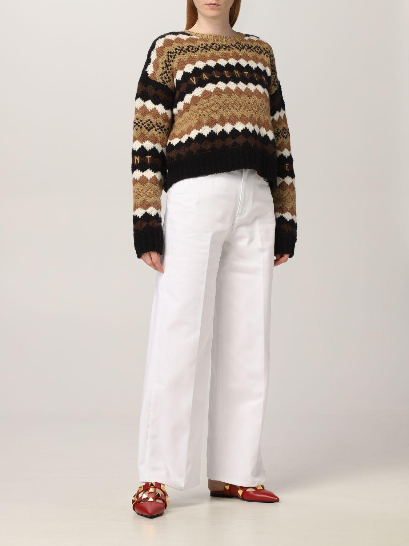Maglia Valentino: Maglia Valentino in lana con logo ricamato crema 2