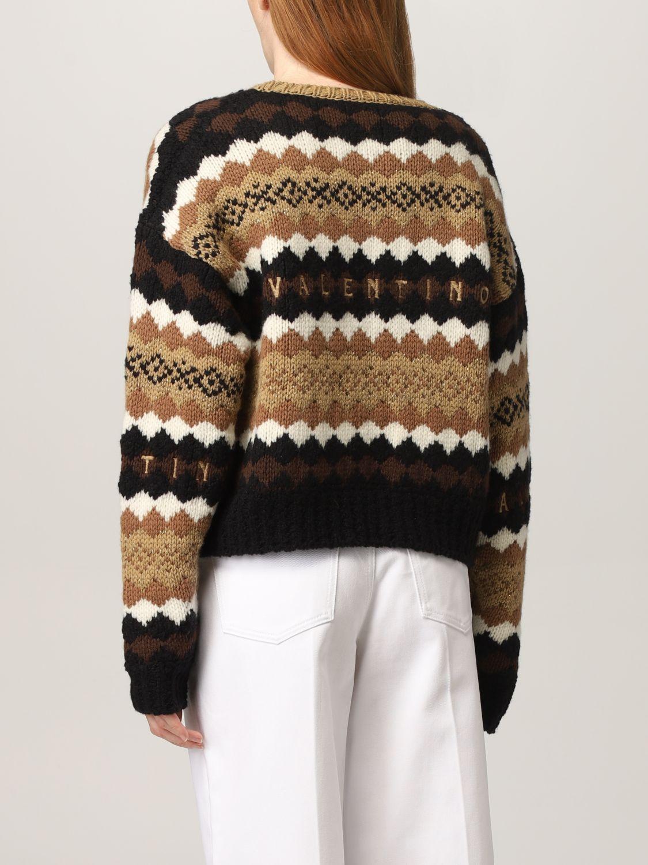 Maglia Valentino: Maglia Valentino in lana con logo ricamato crema 3
