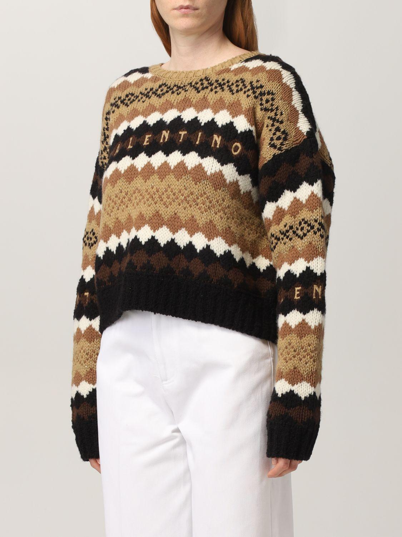 Maglia Valentino: Maglia Valentino in lana con logo ricamato crema 4
