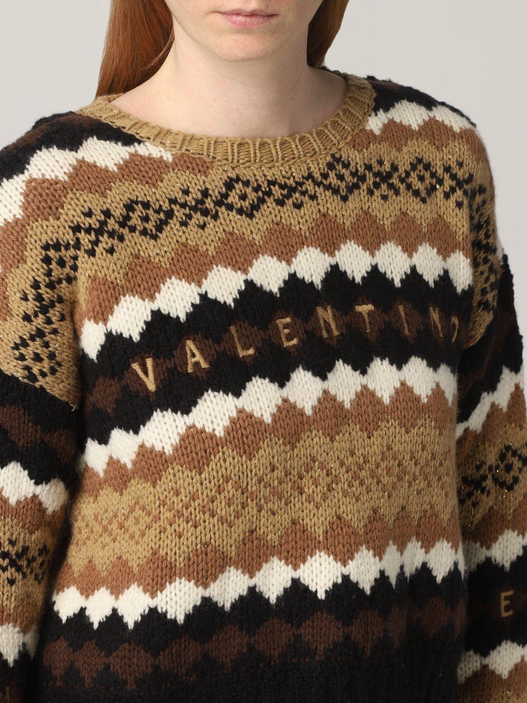 Maglia Valentino: Maglia Valentino in lana con logo ricamato crema 5