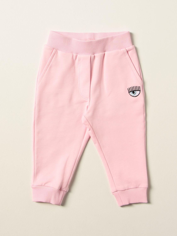 Pantalone Chiara Ferragni: Pantalone jogging Eyes Flirting Chiara Ferragni in cotone rosa 1