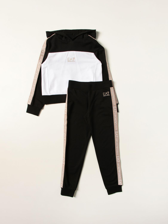 Tuta Ea7: Set felpa + pantalone jogging EA7 in misto cotone con inserti logati glitter nero 1