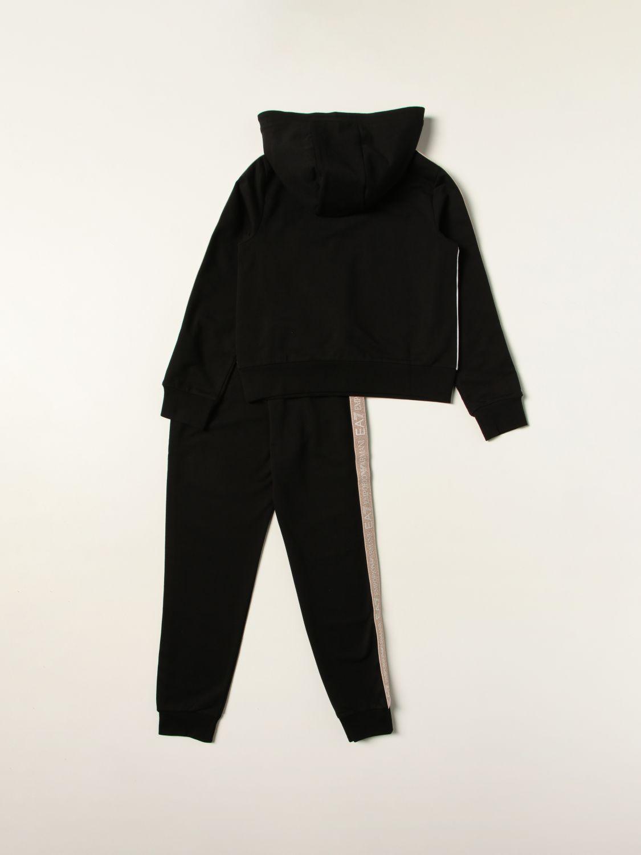 Tuta Ea7: Set felpa + pantalone jogging EA7 in misto cotone con inserti logati glitter nero 2