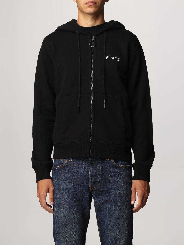 Felpa Off White: Felpa Off White in cotone con logo nero 1