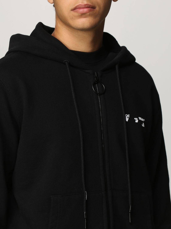 Felpa Off White: Felpa Off White in cotone con logo nero 4
