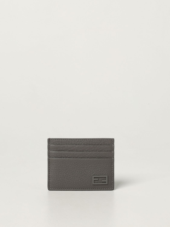 Portafoglio Fendi: Porta carte di credito Fendi in pelle martellata grigio 1