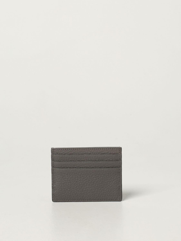 Portafoglio Fendi: Porta carte di credito Fendi in pelle martellata grigio 2