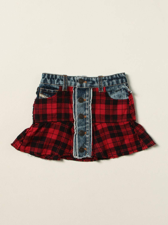 Skirt Diesel: Diesel check denim mini skirt red 1