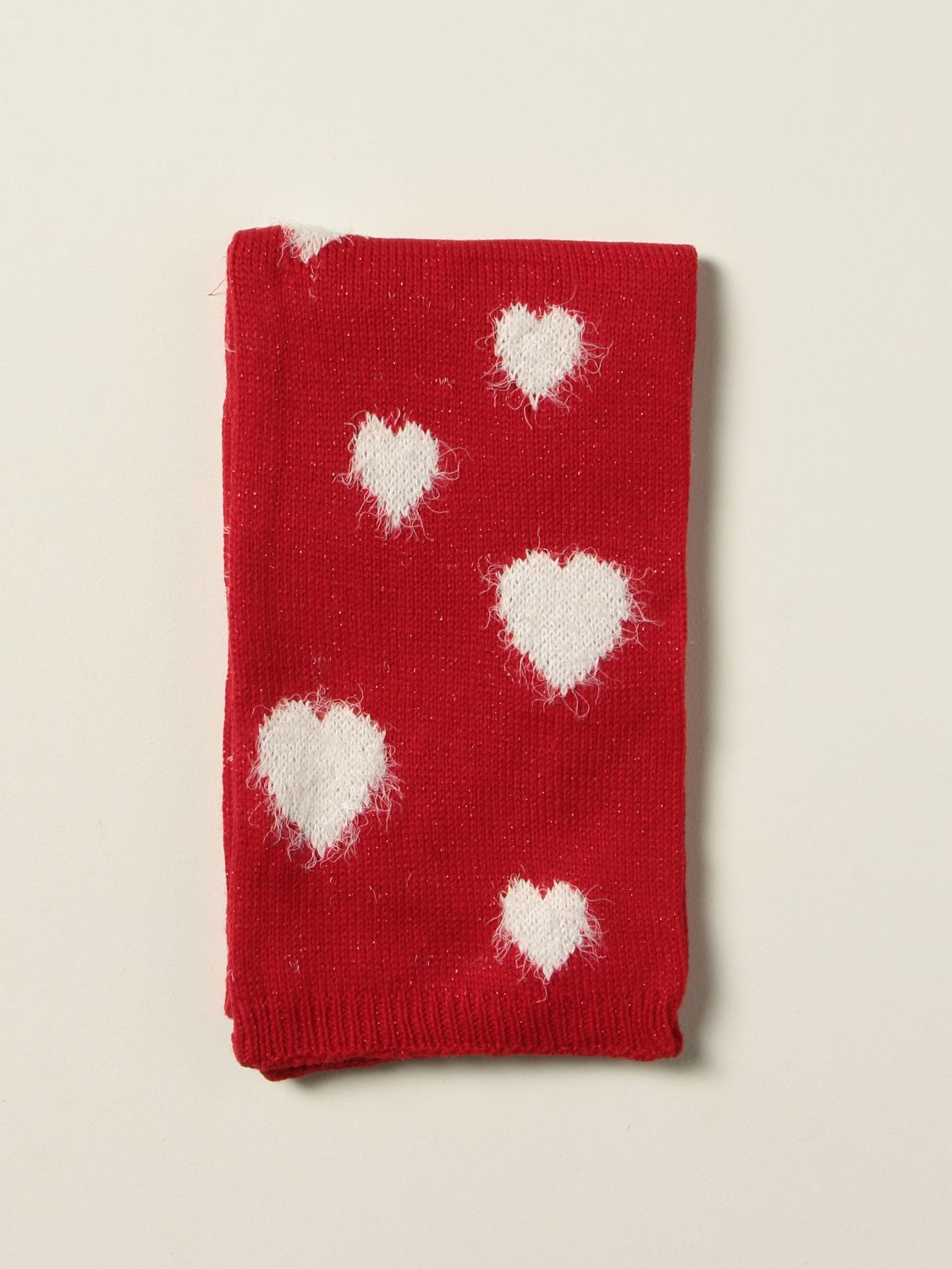Scarf Monnalisa: Monnalisa scarf in Angora blend with contrasting hearts red 1