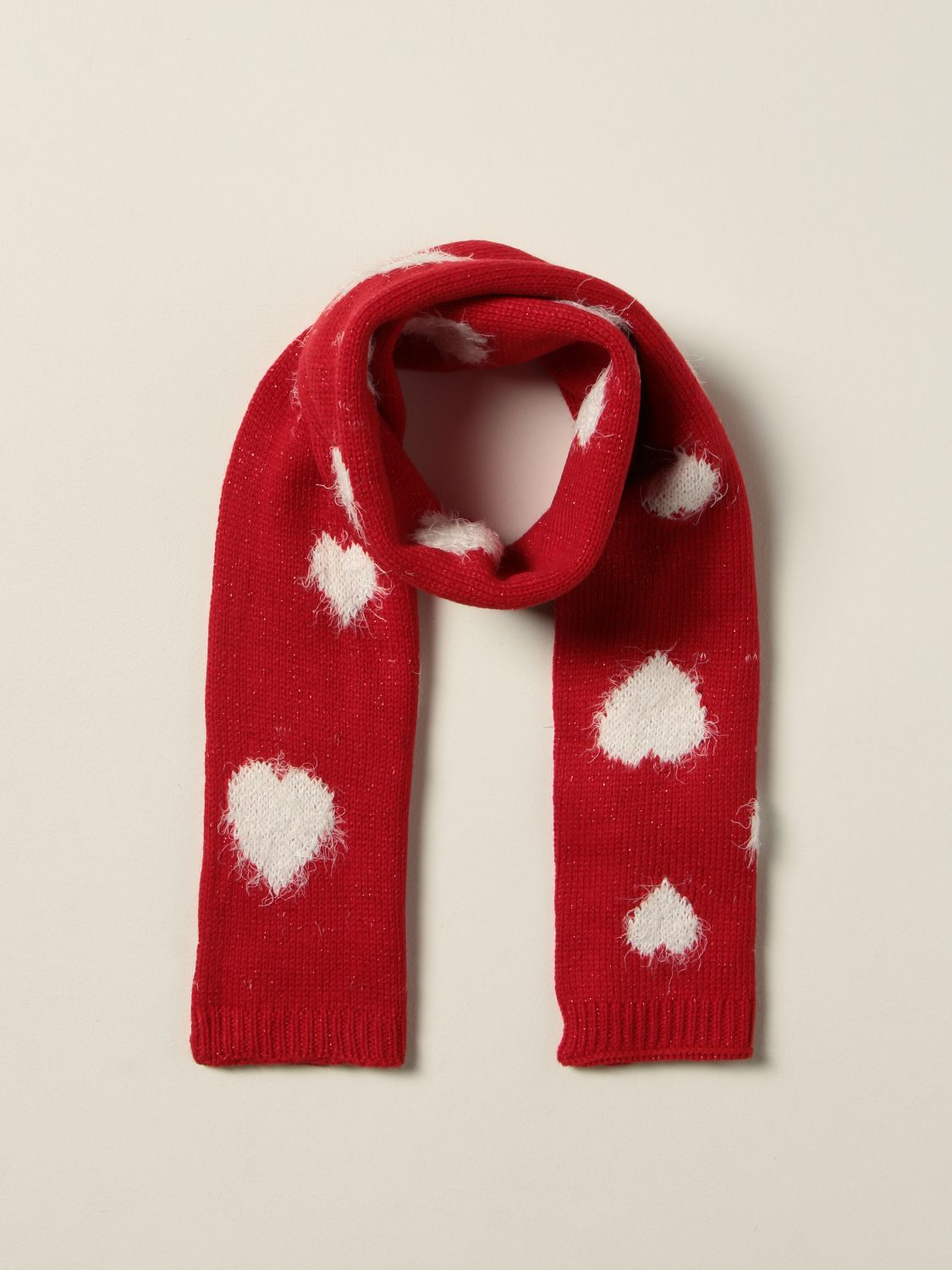 Scarf Monnalisa: Monnalisa scarf in Angora blend with contrasting hearts red 2