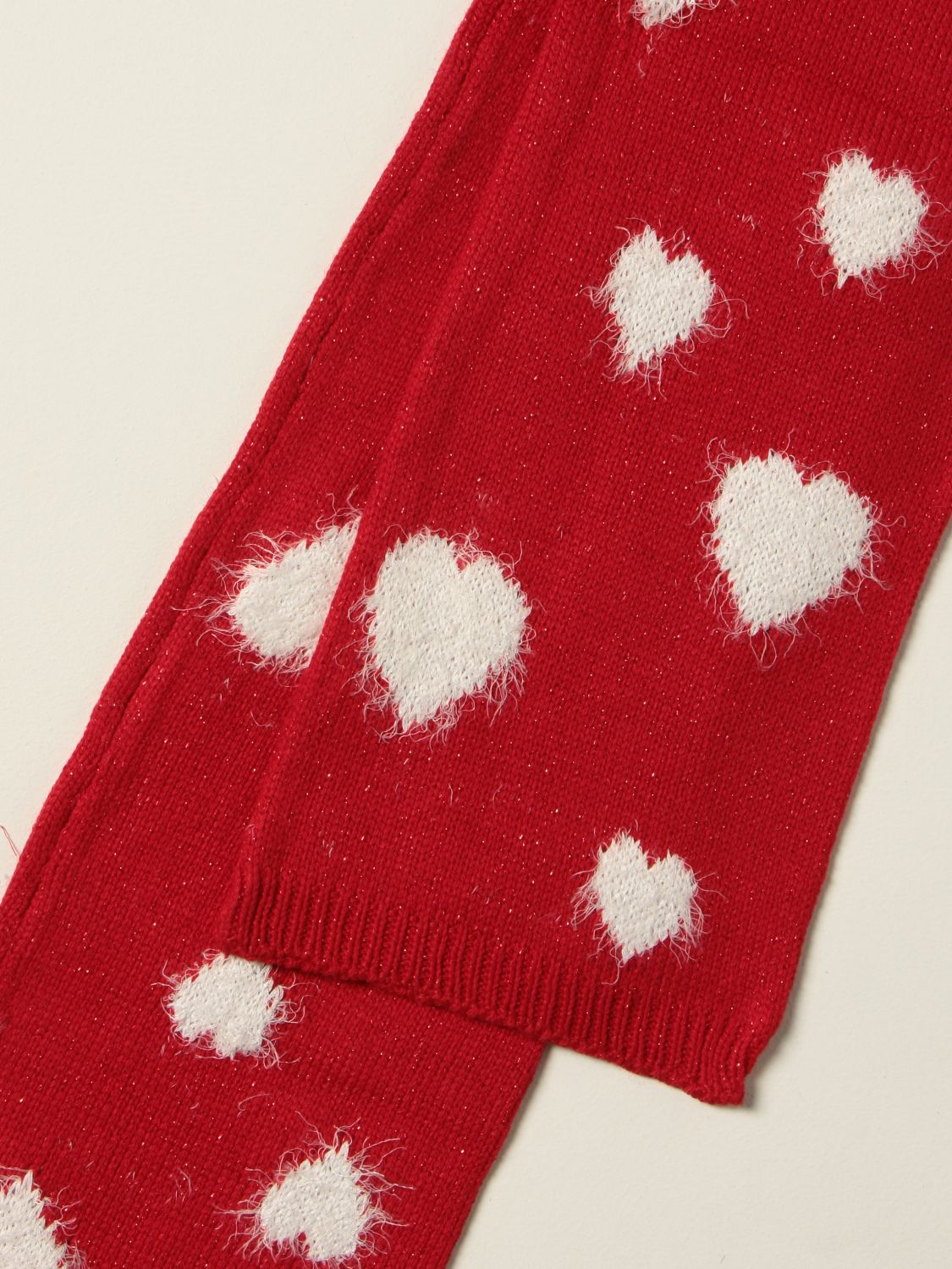 Scarf Monnalisa: Monnalisa scarf in Angora blend with contrasting hearts red 3