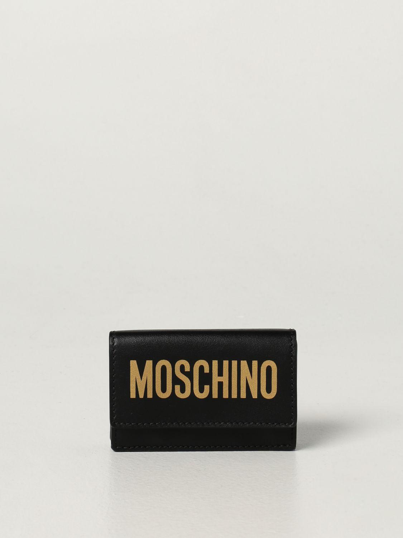 Portafoglio Moschino Couture: Portafoglio Moschino Couture in pelle con logo nero 1 1