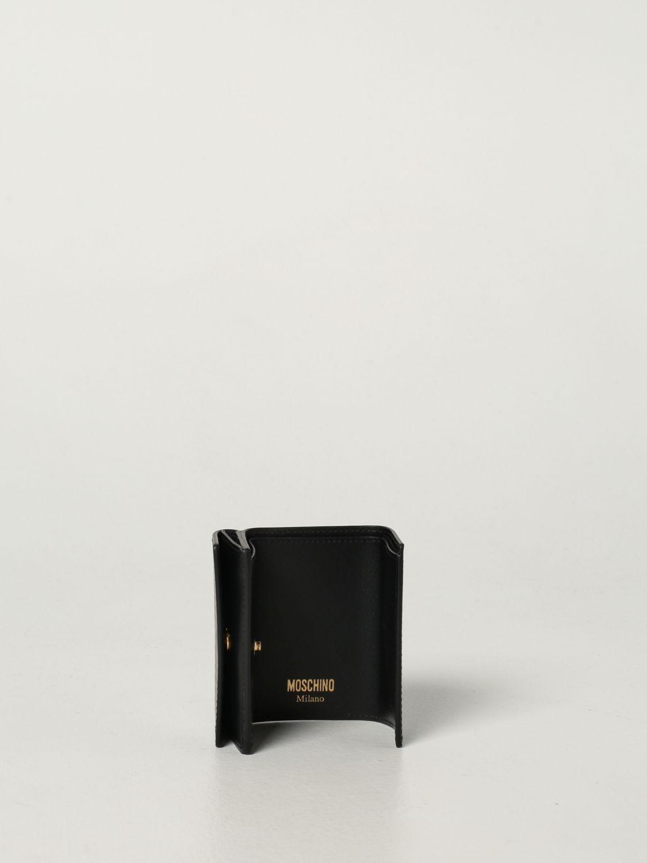 Portafoglio Moschino Couture: Portafoglio Moschino Couture in pelle con logo nero 1 2