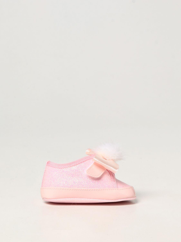 Scarpe Monnalisa: Scarpe da culla Monnalisa in tela glitter rosa 1