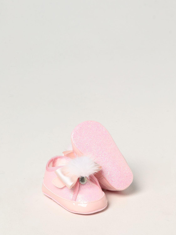 Scarpe Monnalisa: Scarpe da culla Monnalisa in tela glitter rosa 2