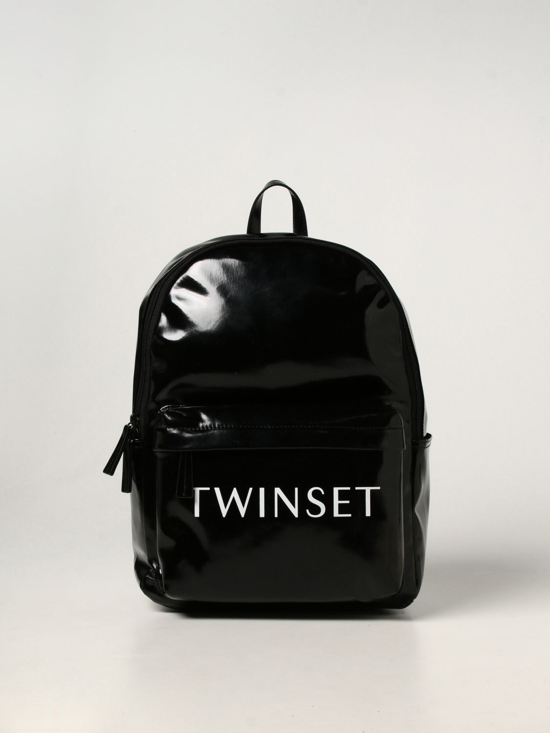 Duffel Bag Twin Set: Twin-set backpack in synthetic leather black 1