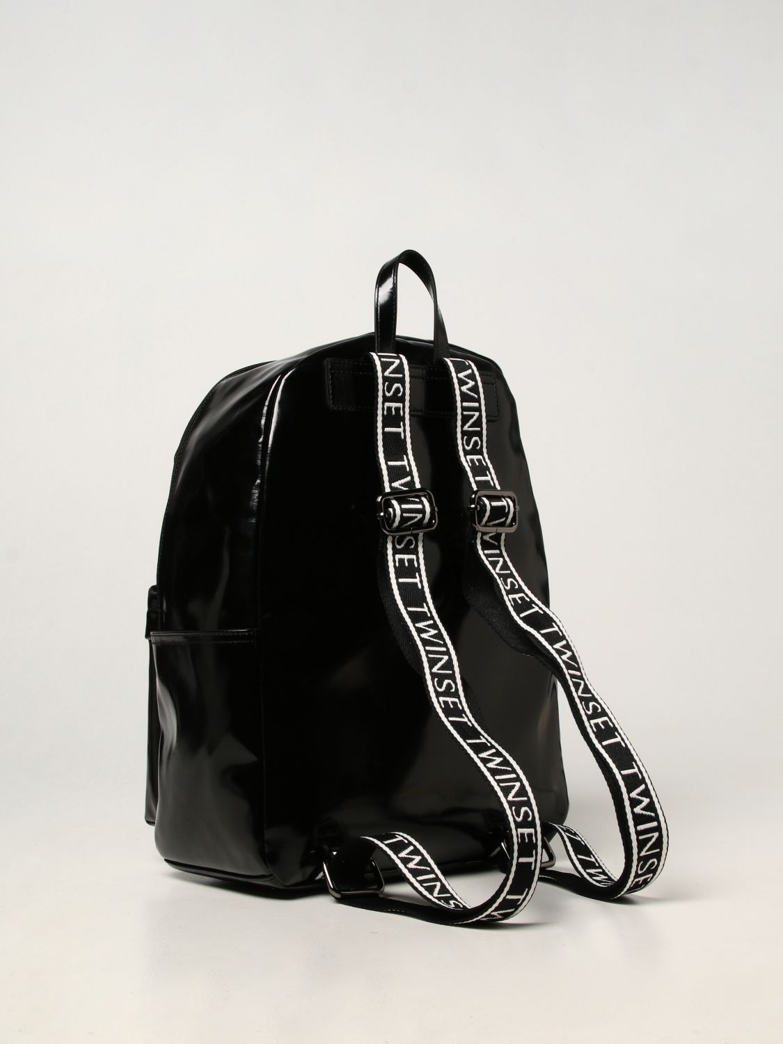 Duffel Bag Twin Set: Twin-set backpack in synthetic leather black 2