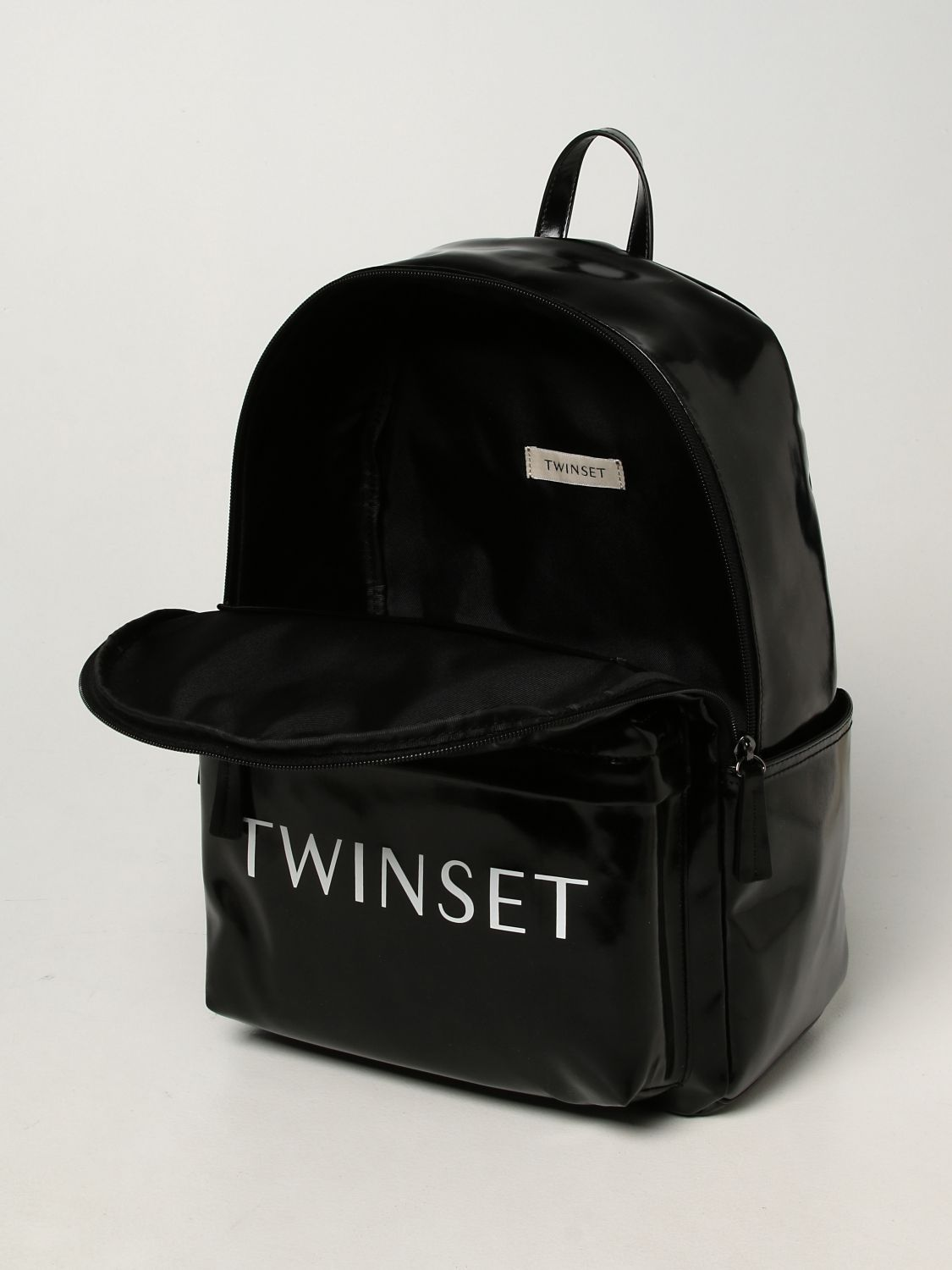 Duffel Bag Twin Set: Twin-set backpack in synthetic leather black 4