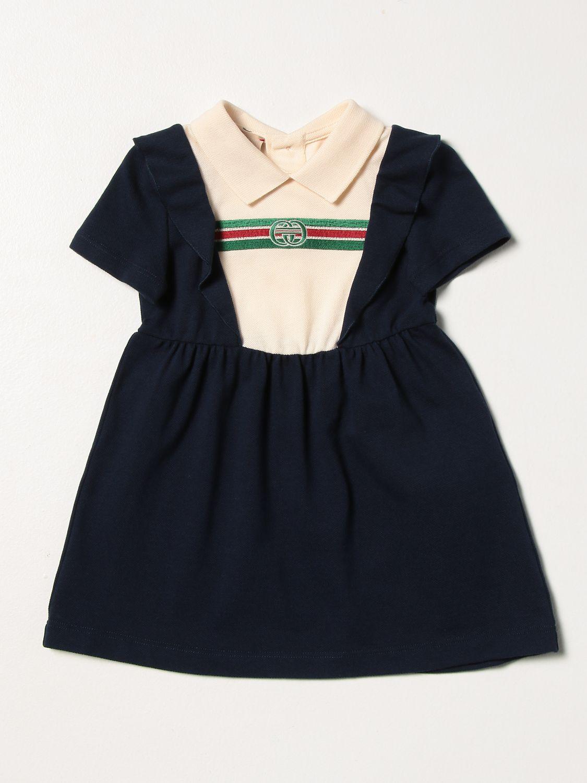 Abito Gucci: Abito Gucci con logo GG in cotone stretch blue 1