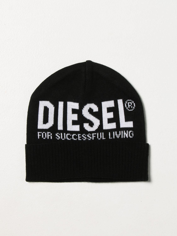 Hat Diesel: Diesel bobble hat with logo black 1