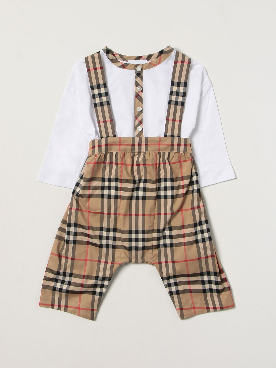 Jumpsuit Burberry: Burberry check dungaree + body set white 1