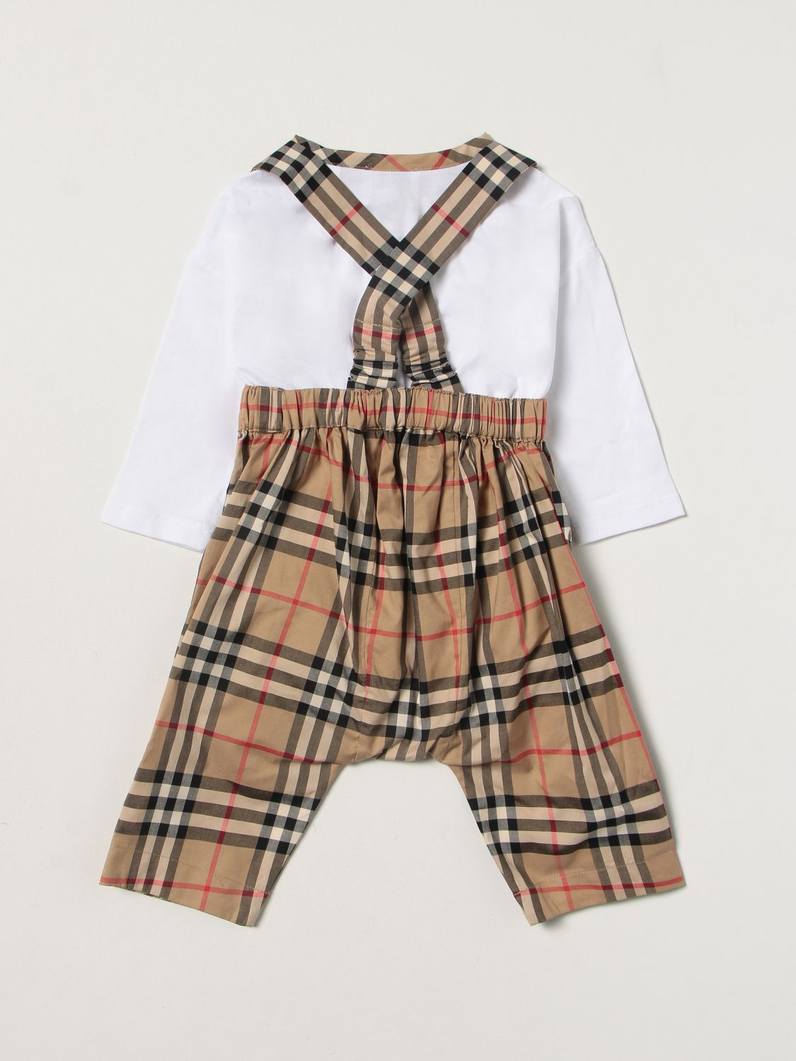 Jumpsuit Burberry: Burberry check dungaree + body set white 2