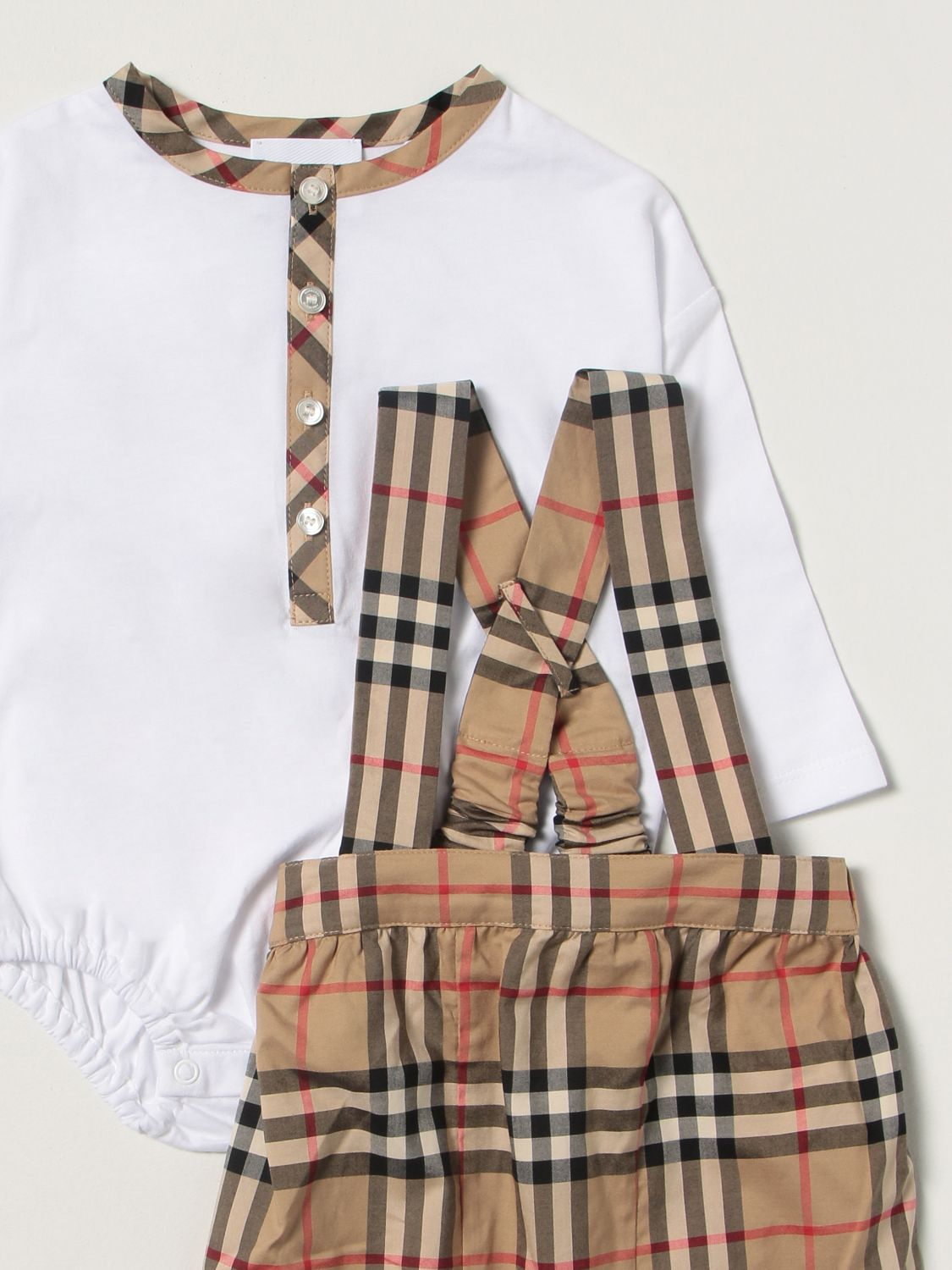 Jumpsuit Burberry: Burberry check dungaree + body set white 3