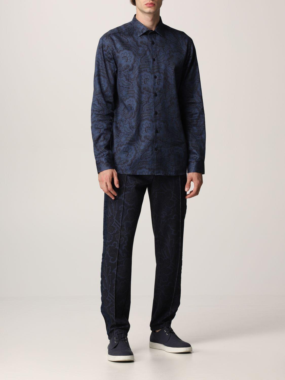 Camisa Etro: Camisa hombre Etro azul oscuro 2